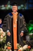 Interim Chancellor Wayne T. Davis leads the University of Tennessee's Tickle College of Engineering in Commencement exercises at Thompson-Boling Arena on Thursday, May 10, 2018...Photo by Erik Campos