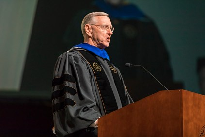 Businessman and philanthropist Scott Niswonger addresses graduates of the University of Tennessee's Haslam College of Business during Commencement at Thompson-Boling Arena on Thursday, May 10, 2018...Photo by Erik Campos