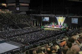 District 23 Representative John Fogerty addresses graduates of the University of Tennessee's College of Arts and Sciences during their commencement at Thompson-Boling Arena on Saturday, May 12, 2018...Photo by Erik Campos