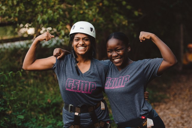 Sangeetha Manoharan of India (left) and Caroline Lembe of Belgium embrace during a teambuilding exercise. Both women were participants in the 2017 GSMP: Empower Women through Sports exchange.