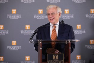 Dr. Bill Fox, Chancellor's Professor and Ergen Professor of Business, delivers highlights of a report about the ecomonic impact of the University of Tennessee on the State of Tennessee during a press conference in the Tyson Alumni House Monday, Aug. 27, 2018.