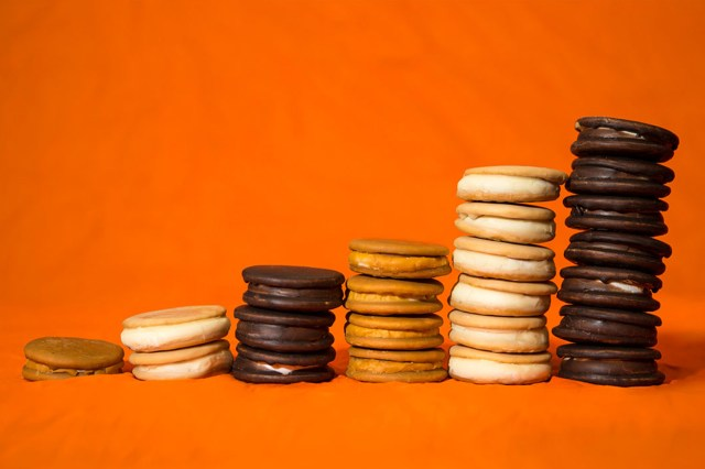 Stacks of Moon Pie cookies.