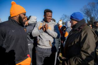 Phillip Fulmer, Director of Athletics, visits with UT students before the annual Martin Luther King Jr. Day parade on January 18, 2018. Photo by Steven Bridges