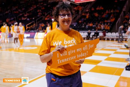 Joan MacLeod Heminway, Rick Rose Distinguished Professor of Law, is recognized before a game on February 28.