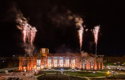 Fireworks explode during Illuminate at the Student Union Grand Opening at Student Union on March 29, 2019. Photo by Steven Bridges