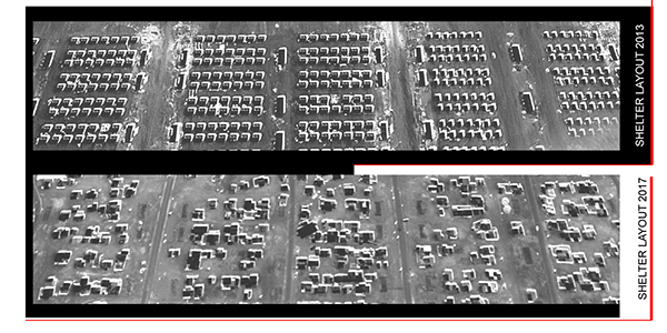 Bottom: Google Earth aerial images show the transformation of Zaatari's organization. Refugees reordered the shelter units, clustering them in various formations to facilitate living near extended family in some cases and to house businesses in others.