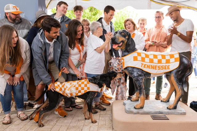 Smokey statue unveiling on Pedestrian Walkway on April 13, 2019. Photo by Steven Bridges
