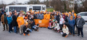 Group photo of UT students, faculty, and staff joining the Knoxville community to participate in the Martin Luther King Jr. Day parade on January 20, 2020. Photo by Steven Bridges/University of Tennessee.