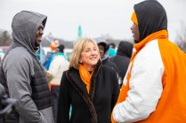 Chancellor Donde Plowman visits with UT students before the Knoxville community Martin Luther King Jr. Day parade on January 20, 2020. Photo by Steven Bridges/University of Tennessee.