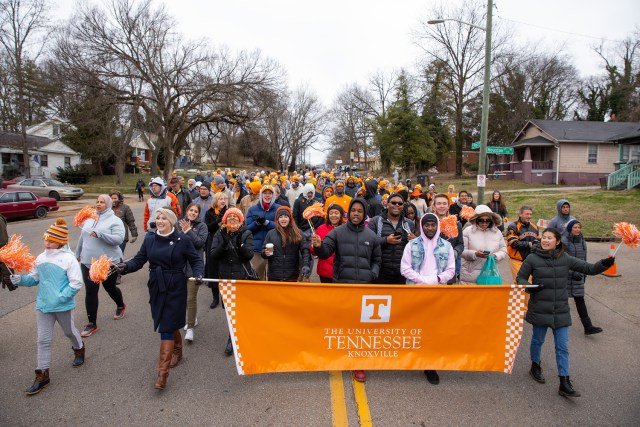 UT students, faculty, and staff join the Knoxville community to participate in the Martin Luther King Jr. Day parade on