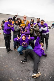 Knox County Mayor Glenn Jacobs poses for a photo with members of Omega Psi Phi after the Knoxville Martin Luther King Jr. Day parade on January 20, 2020. Photo by Steven Bridges/University of Tennessee.