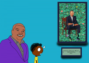 Jimmy talks with Kehinde Wiley, artist of the 2018 portrait of Barak Obama. Art by Shiki Collier. Image from Jimmy's Amazing ARTventure, Project from African American Art History