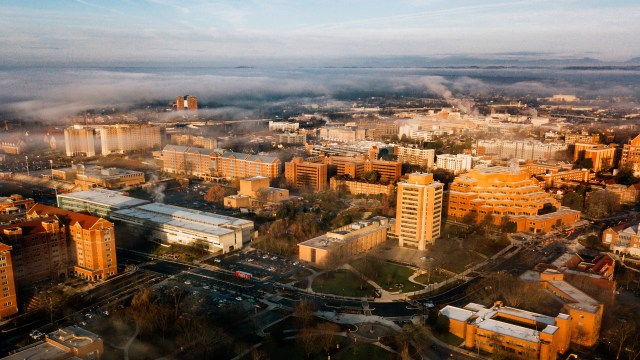 Aerial drone of fog covered campus