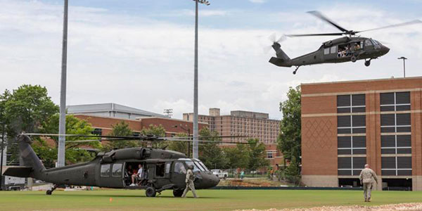Army helicopters land on campus during ROTC training