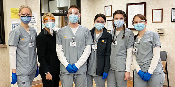 Associate Dean Sadie Hutson with students Bridget Barnett, Camryn Ford, Christopher Moriconi, Lauren Warwick, and Faith Mysliweic at Cherokee Health Systems.