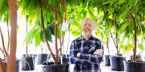 Professor DeWayne Shoemaker poses with cacao trees.