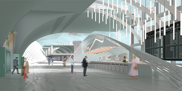A student iteration of the interior of Westside Pavilion in Los Angeles.