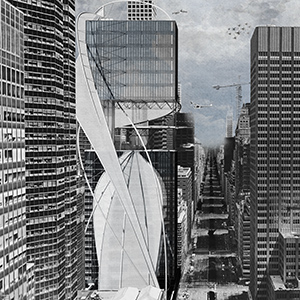 A student iteration of the exterior of the Lever House visible from Park Ave in New York City.
