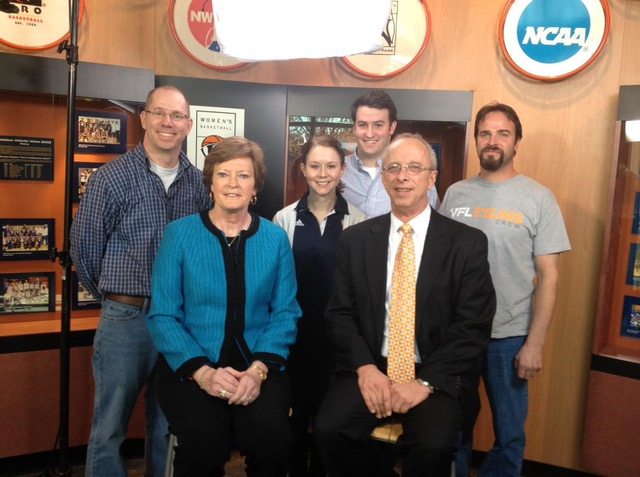 A photo of the crew of the Pat Summitt Show