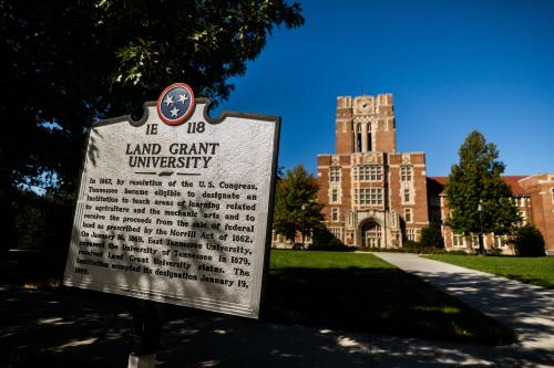 Land Grant University sign in front of Ayres Hall