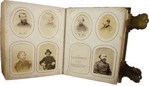 An album in Special Collections that includes signed cartes de visite from several important Union generals, including Gen. Philip Sheridan (upper left) and Gen. Ambrose Burnside (with hat).