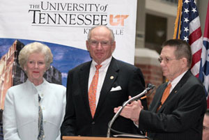 Natalie Haslam (left), Jim Haslam (center) and Jan Williams (right) at the dedication ceremony