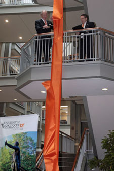 James A. Haslam II (left) and College of Business Administration Dean Jan Williams (right) cut the ribbon on the new Haslam Business Building