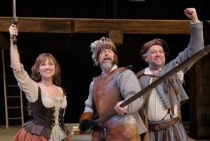 Katy Wolfe Zahn (Aldonza/Dulcinea), David Kortemeier (Cervantes/Don Quixote), and Neil Friedman (Manservant/Sancho)