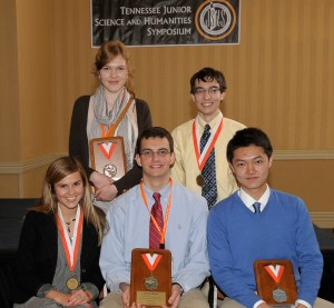 "The 2012 Tennessee Junior Science and Humanities Symposium winners. Pictured left to right: (back row) Amelia Dmowska of Farragut High School, Andrew Messing of Hardin Valley Academy, (front row) Darby Schumacher of Baylor School, Adam Bowman  of Montgomery Bell Academy, and  Jiahe ""Ben"" Gu of Martin Luther King, Jr. Magnet High School."