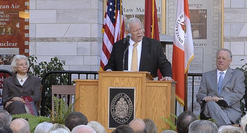 U.S. Supreme Court Justice (Ret.) Sandra Day O'Connor (left) and Governor Phil Bredesen (right) listen as Howard Baker speaks at the grand opening of the Baker Center