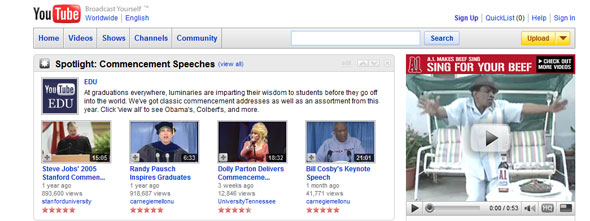 UT's video of Dolly Parton's 2009 commencement address was featured on the front page of YouTube