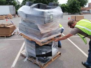 E-waste: discarded monitors ready for disposal