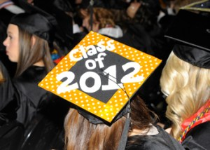 Brightly decorated mortarboard from UT's Fall 2012 Commencement ceremony