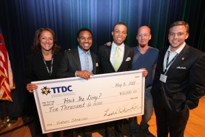 The How's the Living team, pictured (l-r): TTDC President/CEO Dr. Leslie Wisner-Lynch; HTL co-founders Aeron L. Glover and Kaliv Parker; Venture Showcase moderator and Claritas Capital Entrepreneur-in-residence Mark Montgomery; and TTDC Vice President of Operations Dr. James Stover.