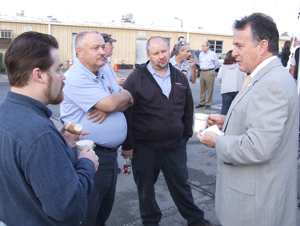 UT President John Petersen meets with Facilities Services employees Tuesday during his Knoxville campus visit