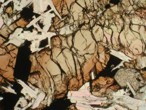 Thin slice of lunar basalt with a petrographic (geologic) microscope in plane-polarized light.