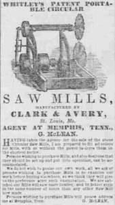 Ad from the January 7, 1857 edition of the Memphis Daily Appeal.