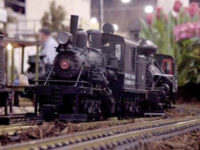 Closeup view of model train
