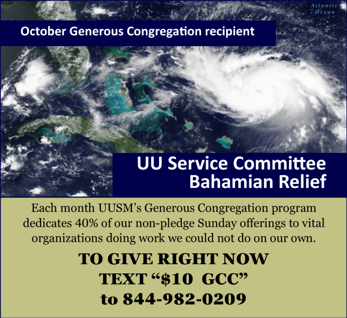 October UUSM Generous Congregation Donation