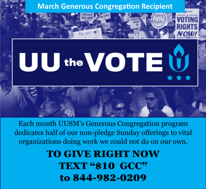 March Generous COngregation recip #UUtheVote