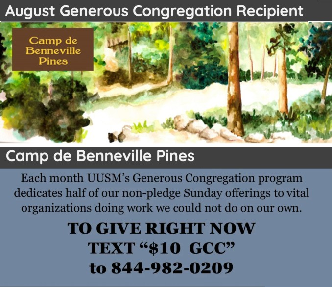 August Generous Congregation supports Camp de Benneville Pines