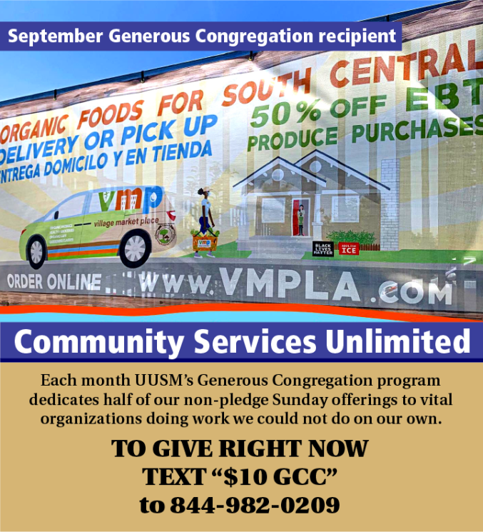 September Generous Congregation supports Community Services Unlimited