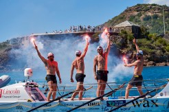 Lighting flares upon arrival in Antigua is a tradition for Talisker Whisky Atlantic Challenge participants.