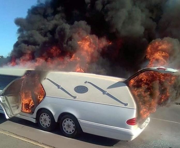 Body inside flaming hearse not harmed