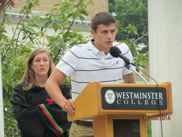 Lucas was one of the freshmen respondents for the 2014 new student Columns Ceremony.