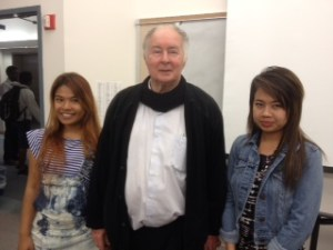 Father Joe with two students from his Mercy Centre, Nantana (left) and Meechai (right)