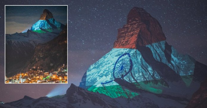 Switzerland matterhorn mountain lit in Indian Flags's tri color