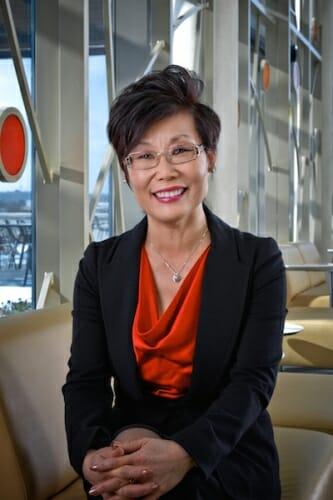 Photo: Portrait of Soyeon Shim in lobby of Nancy Nicholas Hall