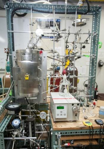 Photo of a biofuel flower reactor