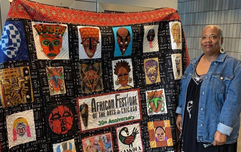 Susan Trice of the Needles and Thread Quilters Guild. (Angel Idowu / WTTW News)